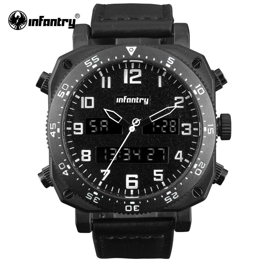 Military Digital Quartz Wristwatch   Big Tactical Leather Watch