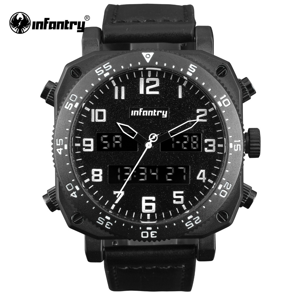 INFANTRY Military Watch Men Digital Quartz Wristwatch Mens Watches Top Brand Luxury Big Tactical Leather Watch Relogio Masculino oulm mens designer watches luxury watch male quartz watch 3 small dials leather strap wristwatch relogio masculino