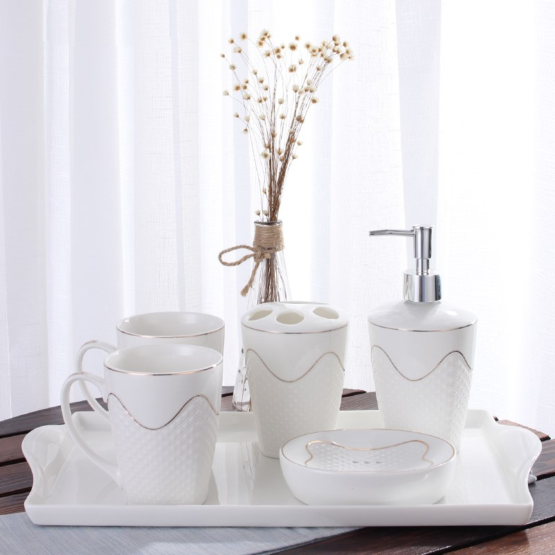 Modern embossed bathroom accessories five sets of bathroom supplies suite wash mouth cup toothbrush holder ceramic soap dish image