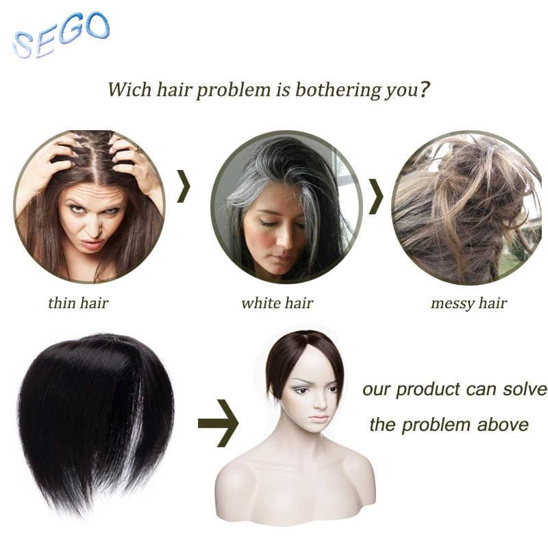 SEGO 6 дюймов 10*10 тонкие моно прямые волосы Топпер парик для женщин с черным 3 клипсами в человеческих волос штук не Реми волос 30 г