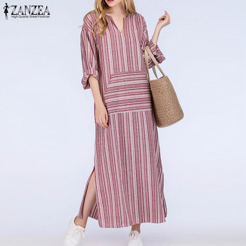 ZANZEA Women Striped Dress 2018 Autumn Vintage Casual Loose Maxi Long Dresses Sexy V Neck Long Sleeve Vestidos Plus Size 3