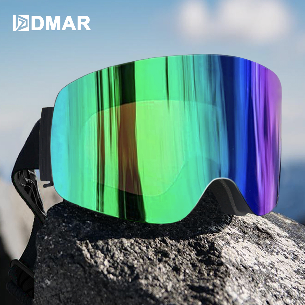 DMAR Ski Goggles UV400 Green  Plus Double Layers Anti-fog Protection Keep Warm Big Lenses Glasses Men Women Snow Goggles Skating