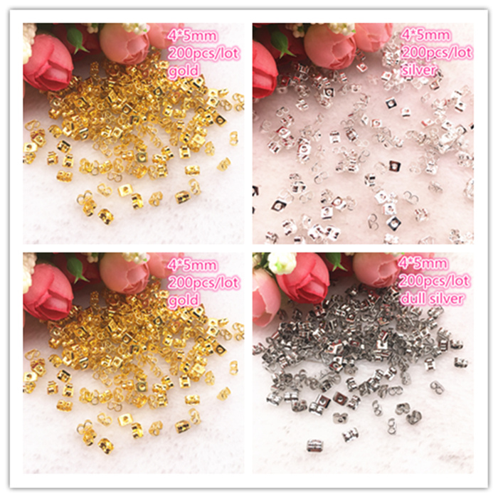 200pcs/lot Alloy Earring Back 4x5mm Gold/Silver Tone Metal Earback Earring Stopper For Findings Diy Jewelry Making