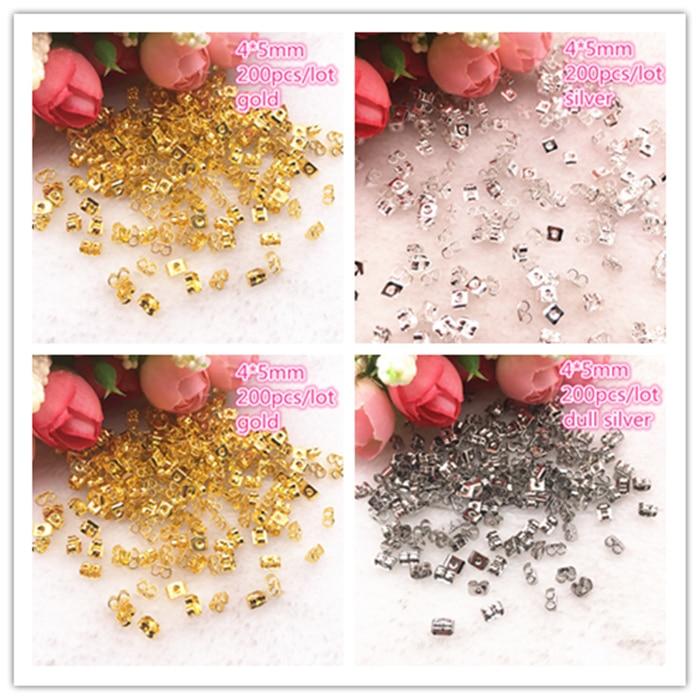 200pcs/lot Alloy Earring Back 4x5mm Gold/Silver Tone Metal Earback Earring Stopper For Findings Diy Jewelry Making