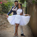 Африканский Короткие Свадебные Платья Со съемными юбки элегантный Спинки О-Образным Вырезом Свадебные Платья Мини Vestidos Де Noiva Z964