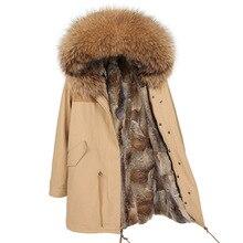 Maomaokong Natuurlijke Konijnenbont Vrouwen Lange Parka Real Fox Fur Coat Winter Jas Natuurlijke Wasbeer Bontkraag Parka Vrouwen jas