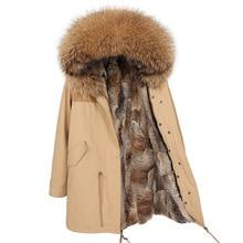 Maomaokongขนสัตว์กระต่ายธรรมชาติผู้หญิงยาวParkasจริงFox Fur Coatแจ็คเก็ตฤดูหนาวRaccoonขนสัตว์Collar Parkaผู้หญิงแจ็คเก็ต