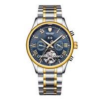 TEVISE Men's Self Wind Tourbillon Mechanical Watches Men clock Water Resistant Automatic Skeleton Watch Men Relojes Hombre