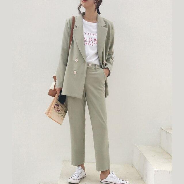 Vintage Autumn Winter Thicken Women Pant Suit Light Green Notched Blazer Jacket & Pant 2019 Office Wear Women Suits Female Sets 1