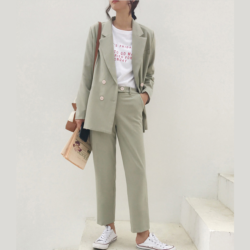 Vintage Double Breasted Women Pant Suit Light Green Notched Blazer Jacket & High Waist Pant Spring Office Wear Women Suits 2