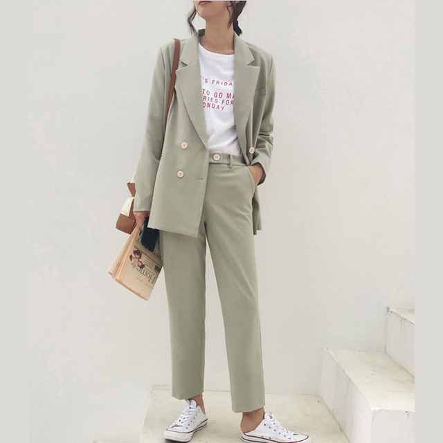 Vintage Double Breasted Women Pant Suit Light Green Notched Blazer Jacket & High Waist Pant Spring Office Wear Women Suits 10