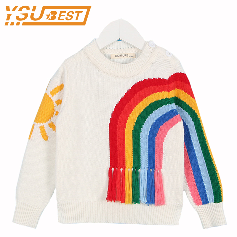 New 2017 Baby Girls Sweaters Brand Kids Autumn New Knitted Baby Girls Pullover Sweater Cotton Tassels Rainbow GirlsTop Clothes 2017 new baby girls