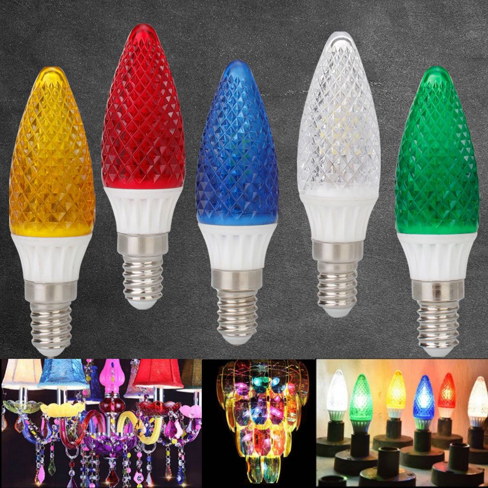 Colorful LED Chandelier Candle Light Bulb E14 220V - 240V 25W 50W Equivalent Green Yellow Red Blue Warm White Lamp Ligthing