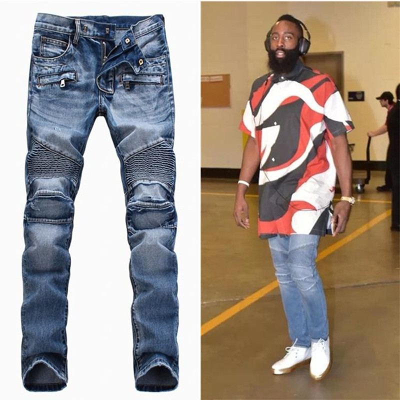 Mens Balmai Jeans Pant Men Designer Black Distressed Jean Motorcycle Robins Jeans Homme Joggers Slim Fit Skinny Ripped Men Jeans ...