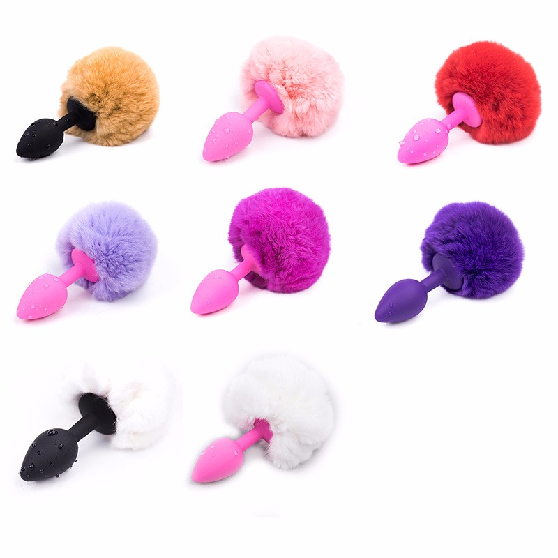 Hairy Bunny Rabbit Tail Anal Plug Gay Fetish Butt Plug Small Size Stainless Steel Silicone Waterproof Rhinestone Stopper Game in Anal Sex Toys from Beauty Health