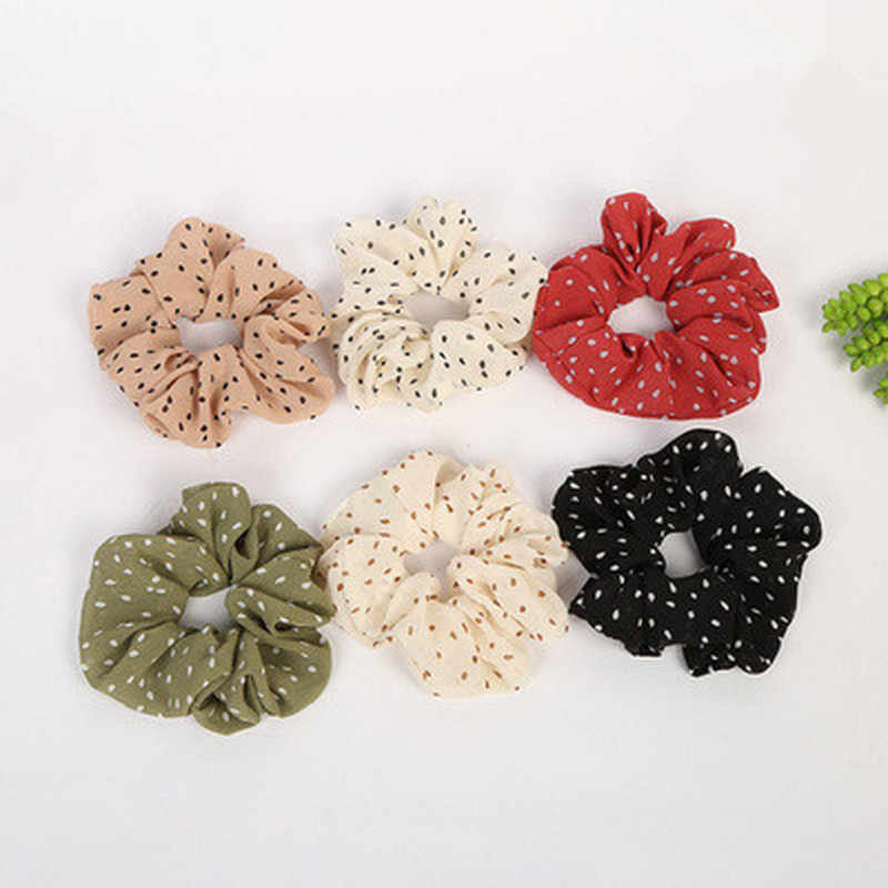 2019 New Dot Elastic Scrunchies New Hot Ponytail Holder Hairband Hair Rope Tie Fashion Stipe for Women Girls headbands for women
