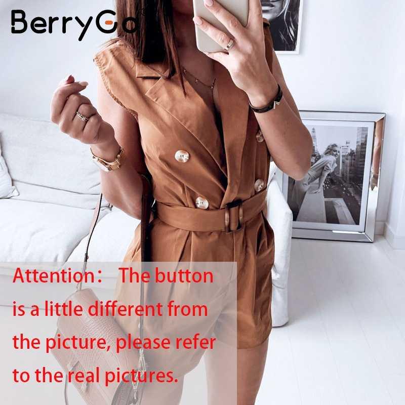 BerryGo женские комбинезоны элегантные пояса хаки летний женский комбинезон офисный женский спортивный костюм Карманы Кнопка молния комбинезоны