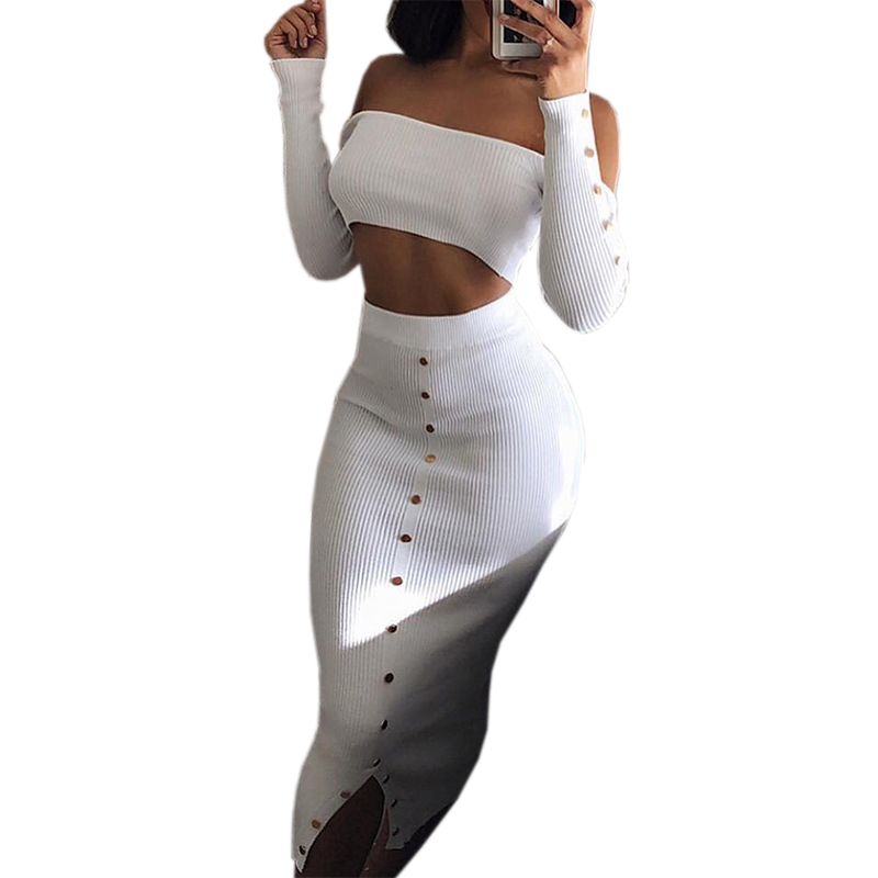 Crop Top and Pencil Skirt Outfits Girl Off Shoulder Buttons Skinny Split Knitted Women's Sets Winter Sexy Bodycon Two Piece Set