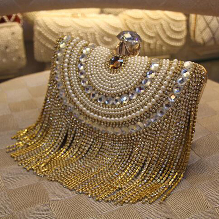 Rhinestones Tassel Clutch Diamonds Beaded Metal Evening Bags Chain Shoulder Messenger Purse Evening Bags For Wedding Bag(China)