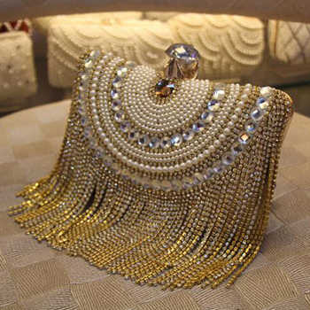 Rhinestones Tassel Clutch Diamonds Beaded Metal Evening Bags Chain Shoulder Messenger Purse Evening Bags For Wedding Bag - DISCOUNT ITEM  55% OFF All Category