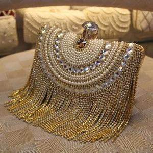 Rhinestones Tassel Clutch Diamonds Beaded Metal Evening Bags Chain Shoulder Messenger Purse Evening Bags For Wedding Bag
