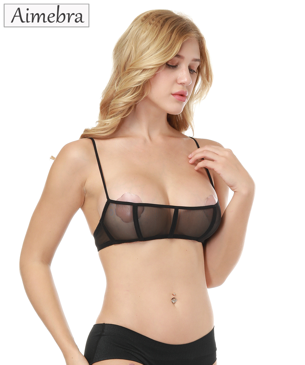 a7d339b7465 Aimebra black genie push up sheer bra Stretch gauze triangle cup bras The  high quality women sexy seductively Lingerie bralette-in Bras from  Underwear ...