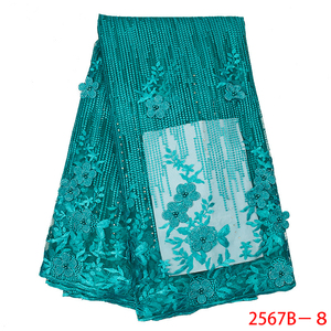 Image 5 - Latest Green African Lace Fabric 2020 Popular Beaded Tulle Lace Fabrics 3D Flowers Net Lace for Wedding Party Dress APW2567B 3