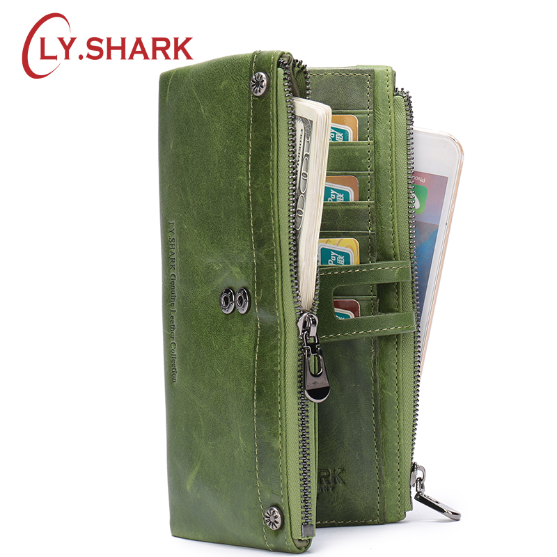 LY.SHARK Famous Brand Wallets Women Genuine Leather Moda Mujer 2018 Purse Of Luxury Long Coin