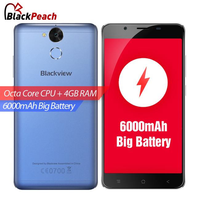 "Blackview P2 4G Mobile Phone 5.5"" FHD MTK6750T Octa Core Android 6.0 4GB RAM 64GB ROM 13MP Cam 6000mAh Fingerprint ID Smartphone"