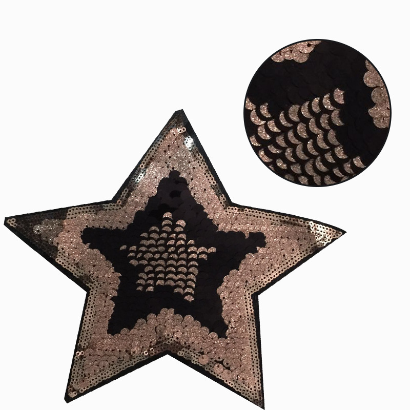 DoreenBeads Sequined Patches Pentagram Star Design Black For Lace Clothes Applique Sticker Sweater Badge Garment Accessory 1PC
