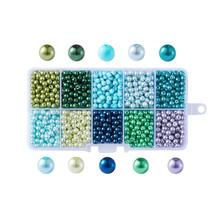 Mixed Pearlized Round Glass Pearl Beads, Mixed Color, 4mm, Hole: 1mm; about 2000pcs/box 1box mixed style round glass pearl beads mixed color crafts jewelry diy maker supplies hot sale