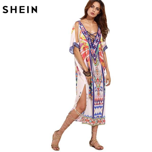 6ec2157b00 SHEIN Boho Woman Summer Beach Dresses Ladies Multicolor Print Crisscross  Front V Neck Half Sleeve Split Side Midi Dress