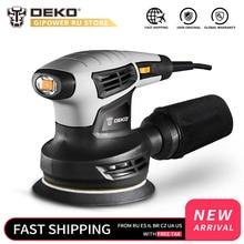 DEKO QD6206R 280 Вт случайная орбитальная шлифовальная машина для работы по дереву с 15 листами наждачной бумаги выхлопа пыли и гибридной пыли канистра