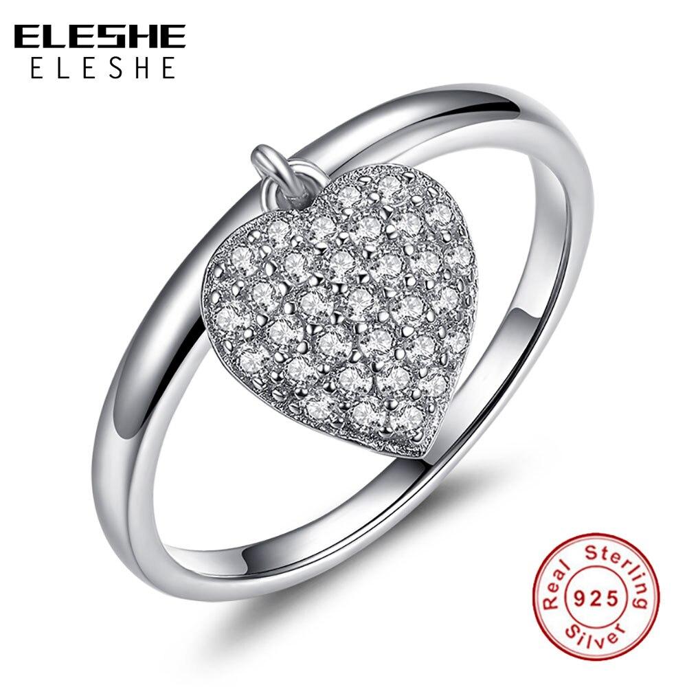 ELESHE Top Qualité Coeur Forme 925 Sterling Argent bagues pour femmes Simple Style De Mode accessoires de bijoux de Valentine Jour