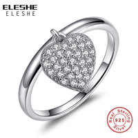 ELESHE Top Quality Heart Shape 925 Sterling Silver Rings For Women Simple Style Fashion Jewelry Accessories Valentine's Day