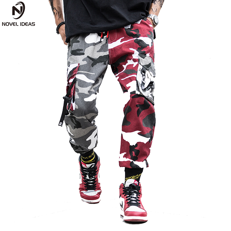 Two Tone Camouflage Pants Cargo Pants Men Skateboard Bib Overall Camo Pants Combat Camouflage Style Straight Trousers US Size