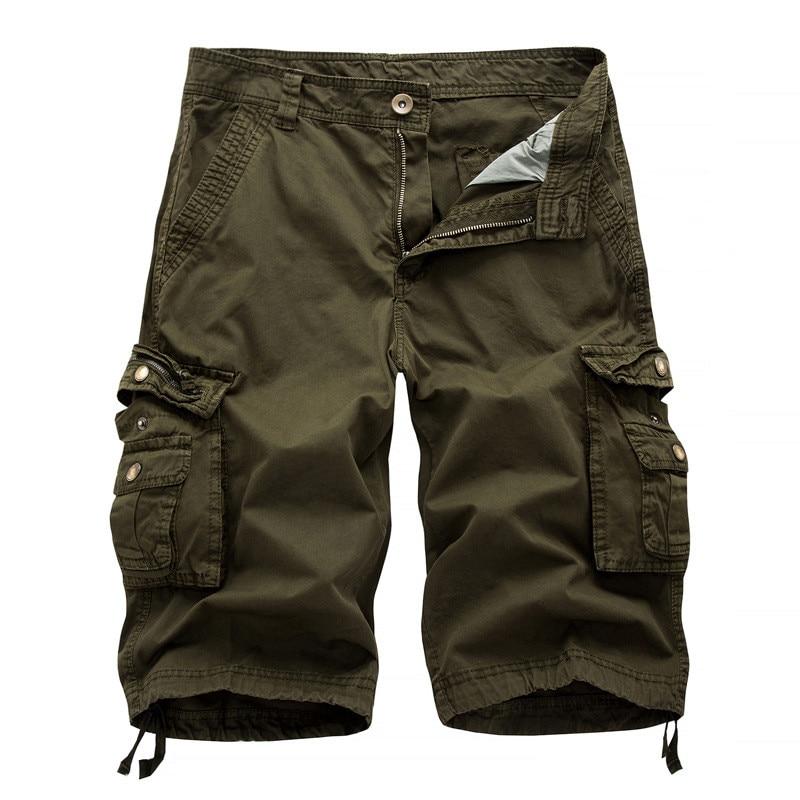 New 2018 Mens Cargo Shorts Casual Loose Short Pants Military Combat Summer Knee Length Multi-Pockets Men Shorts