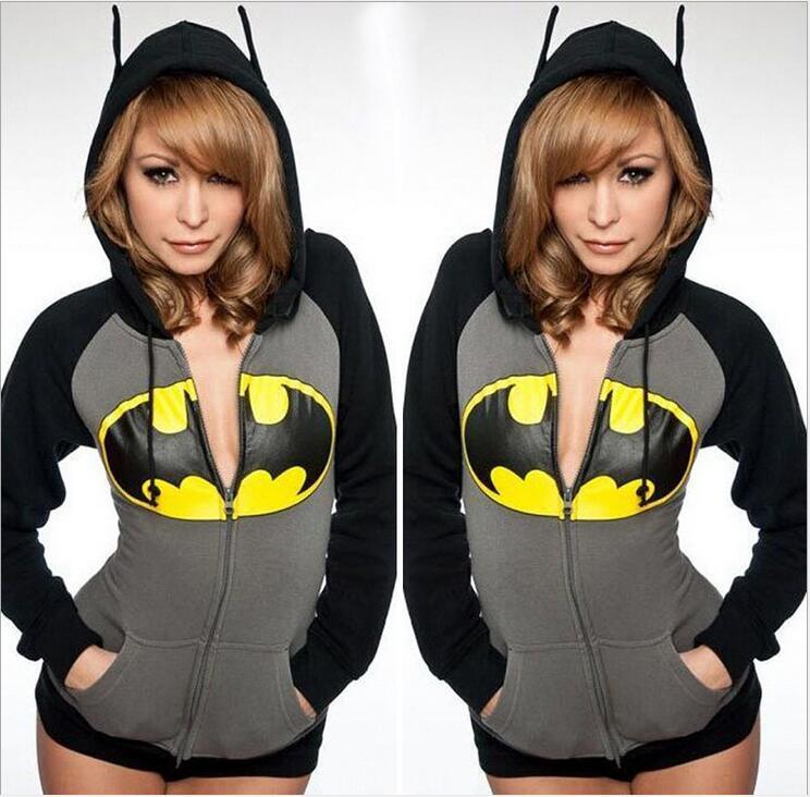 Womens Fashion Batman Hoodies Sweats Cotton Zip Coat Jacke Pullover Sweatshirt Batman cosplay halloween costumes for men women