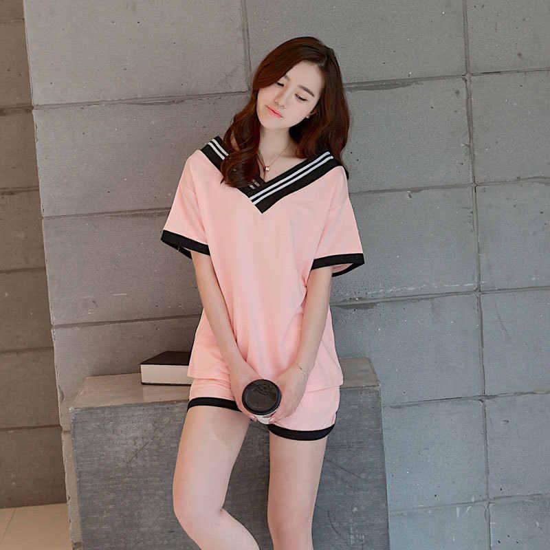 a8de6dad8c6eee8 Foply 2018 Новый Для женщин пижамный комплект Лидер продаж летние шорты  рукавами круглым вырезом свободная Пижама