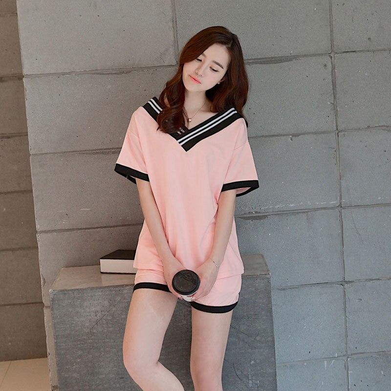 preetyladymall Foply 2017 New Women Pajamas Sets Hot Summer Short Sleeve Cute O-neck Loose Sleepwear Girl pijamas Mujer Nightgowns For Women
