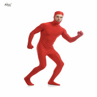 Ainclu Mężczyzna Elastan Nylon Lycra Zentai Red Second Skin Tight Ciała All-inclusive Otwarta Twarz Dancewear Kostium Hallween Body
