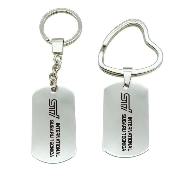 1 Uds para Subaru Logotipo de STI llavero de Metal placa anillo emblema titular de la clave de estilo de coche
