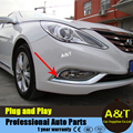 A&T car styling for Sonata 8th front fog light decorative frame 2 pcs for 2011-2014 ABS front fog lamp cover chrome trim