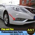 A & T car styling para Sonata octava luz antiniebla delantera marco decorativo 2 unids para 2011-2014 ABS de cromo cubierta de la luz antiniebla delantera