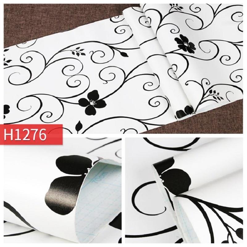 PVC self adhesive wallpaper Bedroom livingroom European black white background wallpaper Thick waterproof decorative wallsticker