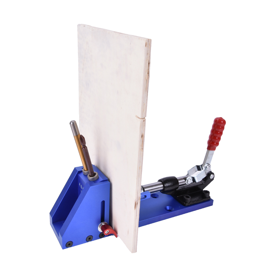 Pocket Hole Jig woodworking Repair Kit Carpenter System Guide With Toggle Clamp 9.5mm and 3/8 inch Step Drill Bit - 5