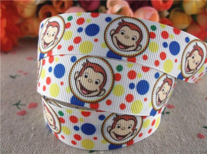 New arrival 78 (22mm) monkey printed grosgrain ribbons cartoon ribbon hair accessories 10 yards WQ14090801