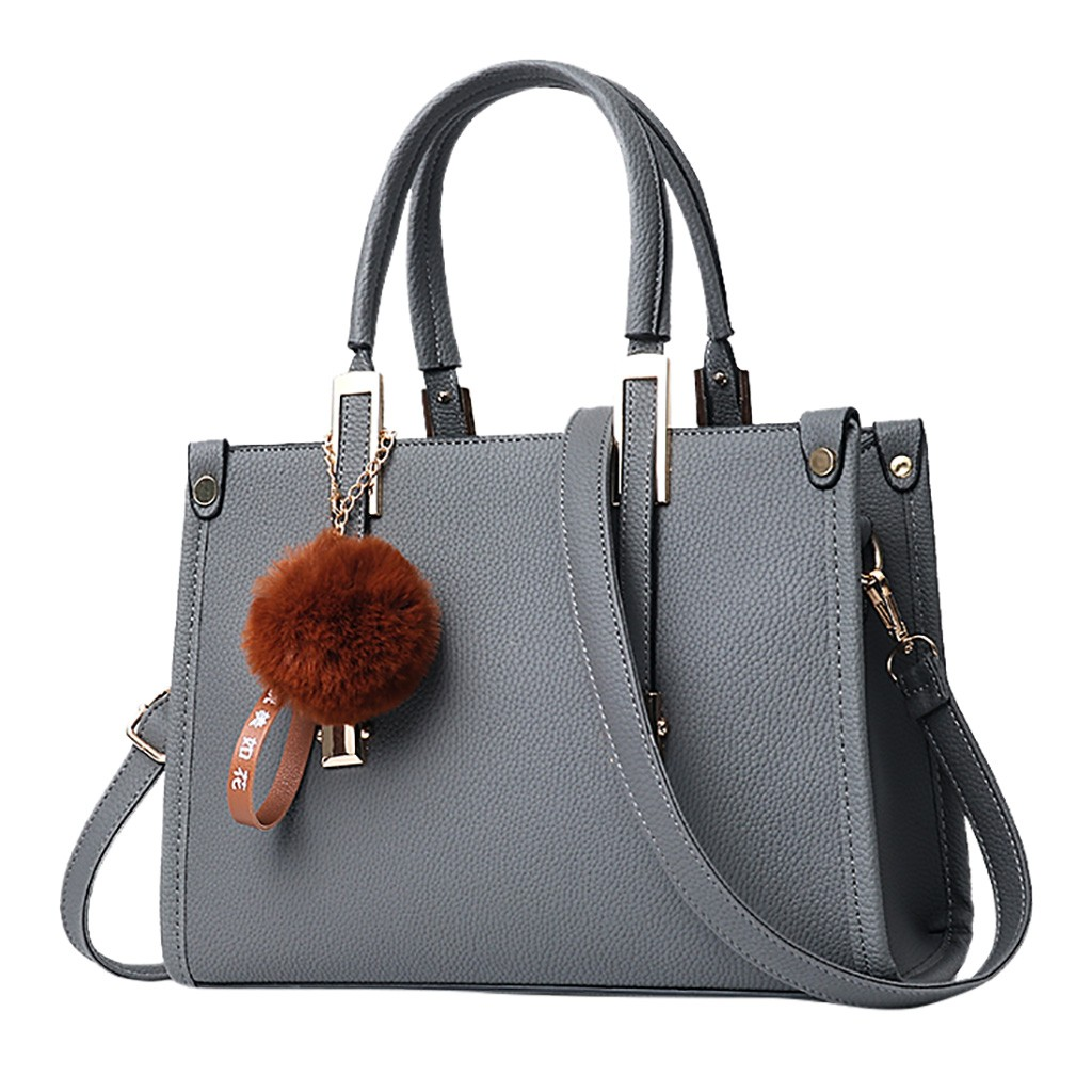 Hairball Ornaments Tote Solid Sequins Handbag Purse Women Messenger Bag (USA STOCK)