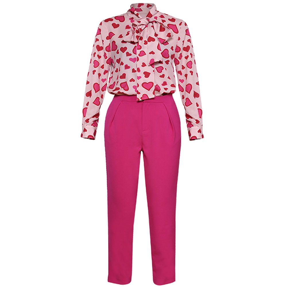 Red RoosaRosee 2019 Summer Women's Heart  Print Long Sleeve Shirt Blouse Tops Pencil Pants Fashion Office Lady 2 Piece Set Suit