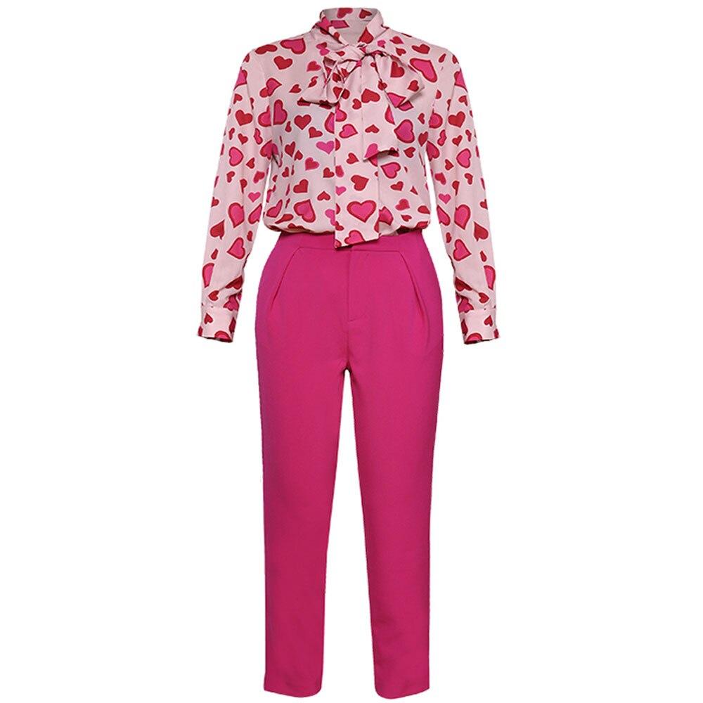 สีแดง RoosaRosee 2019 ฤดูร้อนผู้หญิงพิมพ์เสื้อแขนยาวเสื้อกางเกงแฟชั่น Office Lady 2 ชิ้นชุดสูท-ใน ชุดสตรี จาก เสื้อผ้าสตรี บน   1